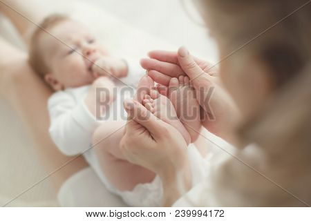 Happy Relationship In Family Concept : Newborn Baby Feet In Mother Hands. Parent Holding Tiny Feet O