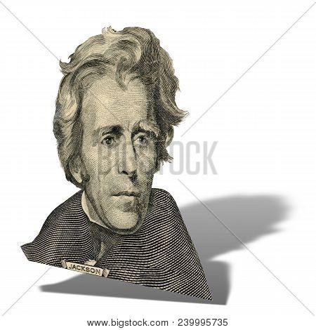 Portrait Of Former U.s. President Andrew Jackson As He Looks On Twenty Dollar Bill Obverse.  Photo A