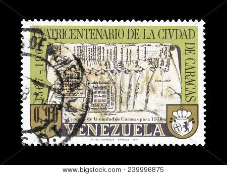 Venezuela - Circa 1967 : Cancelled Postage Stamp Printed By Venezuela, That Shows Map Of Caracas.