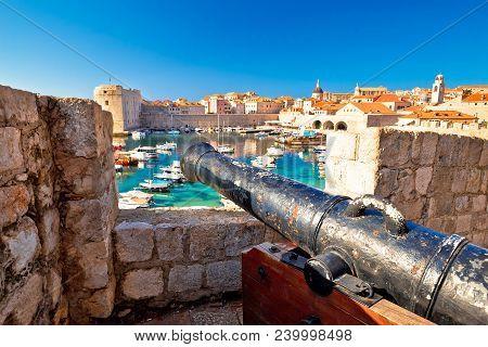 Dubrovnik Harbor And Landmarks View Form Defense Walls, Cannon On Walls, Dalmatia Region Of Croatia