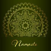Flyer or brochure template with golden mandala pattern. Yoga classes banner. Namaste inscription means a greeting in Hindi. Hand drawn vector illustration poster