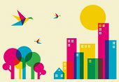 Spring time in the city. Full color humming birds flying over the forest and city. Vector file available. poster