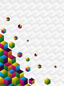 Multicolored cubes on a corned background. Vector available. poster