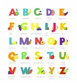 Fruit alphabet vector alphabetical vegetables font and fruity apple banana letter illustration alphabetically set of abc text with watermelon tomato and strawberry isolated on white background. poster