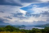 Scottish summer landscape with moody sky over Loch Awe, the longest freshwater loch in Scottish Highlands, Argyll and Bute, Scotland, UK poster