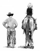 My pencil drawing of a cowboy walking alongside a young girl seated on a horse. poster