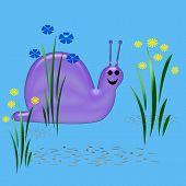 smiling 3d snail crawling through the garden poster