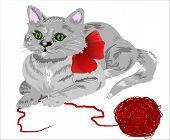 Cute kitten laying down with a ball of yarn. White background is on a work path. Drawn without the aide of a tablet. poster