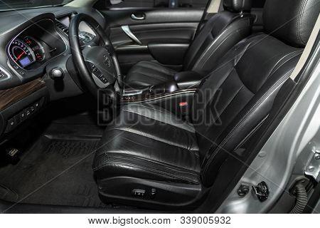 Novosibirsk, Russia - October 23, 2019:  Nissan Teana,car Interior - Steering Wheel, Shift Lever, Mu