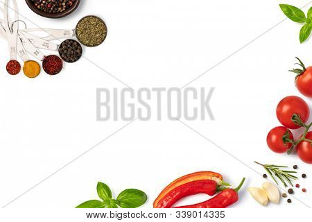Food background with free space for text. Composition with ingredients for cooking over white background. Top view with copy space