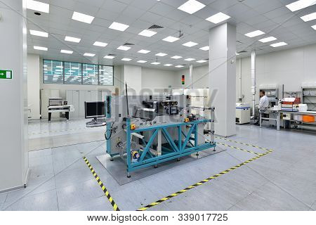 Moscow, Russia - Dec. 5.2019. Chip Cutting Machine In Mikron - The Largest Plant For The Production