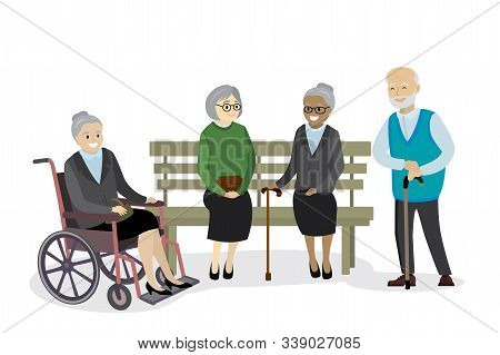 Multicultural Old People Are Sitting On The Bench, Grandmother In