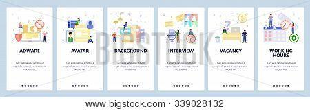 Mobile App Onboarding Screens. Working Hours, Calendar, Office Desk, Employee Profile, Adware. Menu