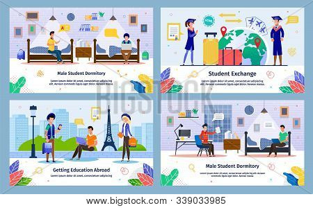 Student Exchange, Abroad Education In College, Male Student Dormitory Trendy Flat Vector Banner, Pos