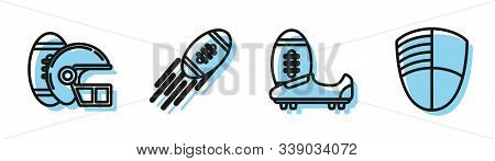 Set Line Soccer Or Football Shoes With Spikes, American Football Ball And Helmet, American Football