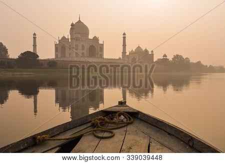 Taj Mahal Reflected In Yamuna River