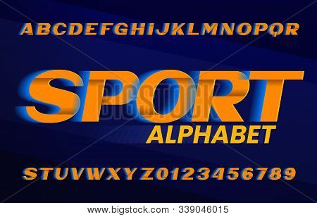 Sport Alphabet Font. Speed Effect Oblique Letters And Numbers. Stock Vector Typescript For Your Typo