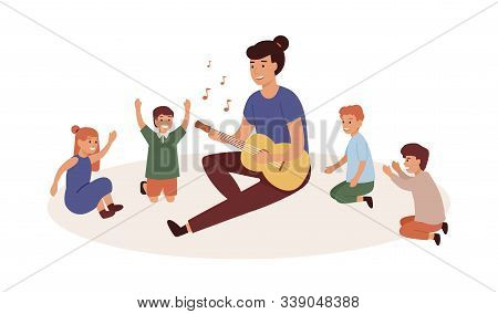 Kindergartener With Kids Group Flat Vector Illustration. Nursery Governess Playing Guitar. Music And