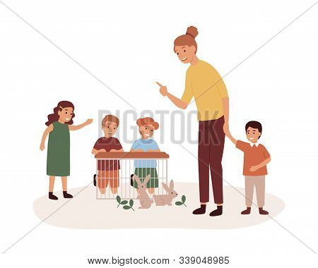 Kindergarten Teacher With Preschoolers Group Flat Vector Illustration. Pet Care Lesson, Play With Ra