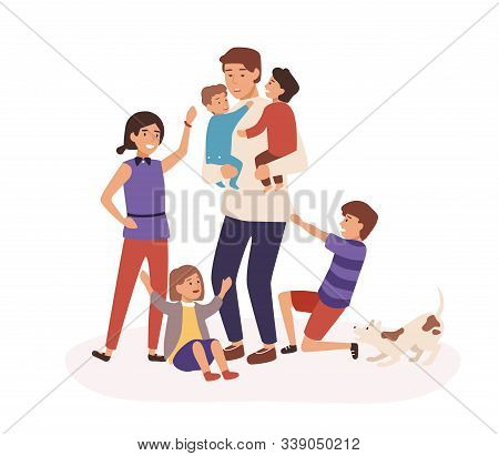 Tired Father Having Many Children Flat Vector Illustration. Daddy Sitting At Home With Babies. Tired