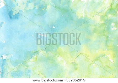 Watercolor Abstract Background. Hand Painted Texture In Pastel Blue Green Colors. Colorful Wash With