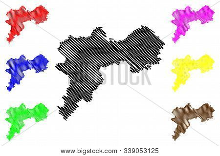 Offaly County Council (republic Of Ireland, Counties Of Ireland) Map Vector Illustration, Scribble S