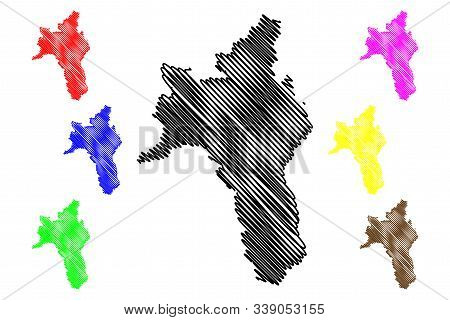 Roscommon County Council (republic Of Ireland, Counties Of Ireland) Map Vector Illustration, Scribbl