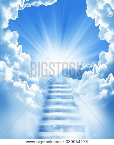 Beautiful Sky With Steps To Heaven To Reach Jesus