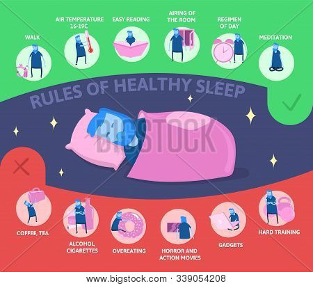 Rules Of Healthy Sleep, Vector Infographics Illustration. Man Sleeping On The Bed. Useful Tips For A