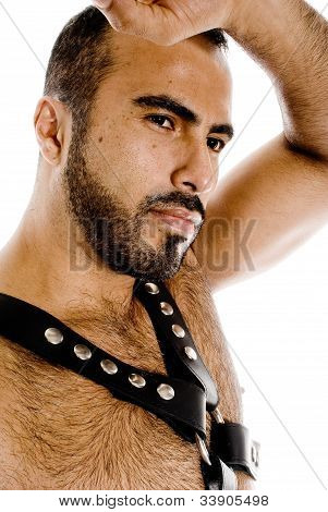 Sexy latin gay guy in leather gear