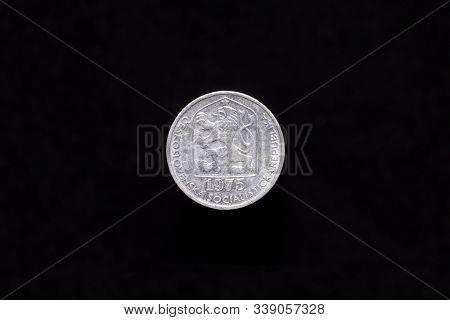 Czechoslovak Socialist Republic Old 10 Haleru, 10h Coin From 1975, Obverse Showing The Socialist Coa