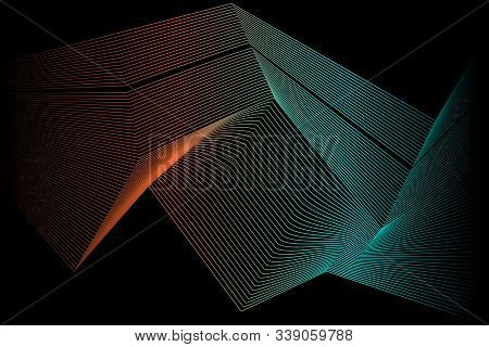Colored Curved Lines Are Arranged Sequentially One After Another. Abstraction For The Background. Ve