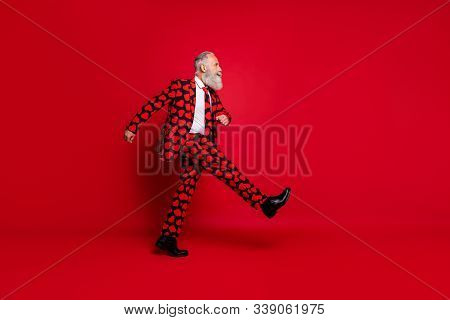 Full Length Body Size View Of Nice Attractive Funky Serious White-haired Man Cherub Strolling Going