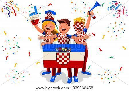 Croatians Flag Croatia Icon, Simple Signs. Symbol Croatia Flag. Summer Games Flat Vector Illustratio