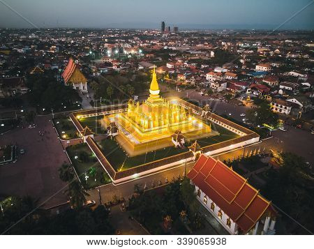 This Is Phathatluang. It Is A Gold-covered Large Buddhist Stupa In Center Of Vientiane, Laos. It Is