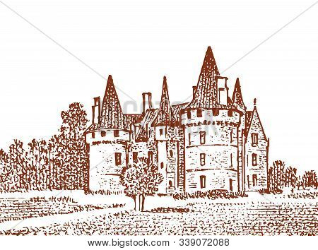 Landscape With A Royal Castle In The Meadow. Fortress Or Tower . Stone Citadel On A Hill. Graphic Mo