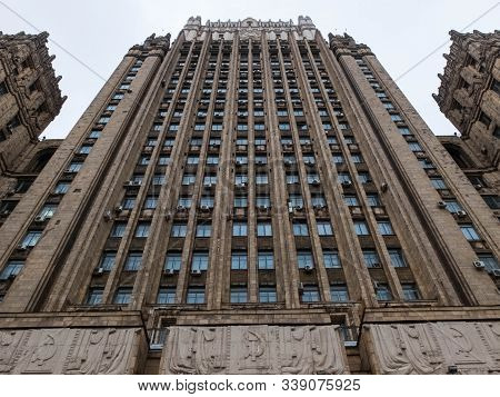 Ministry Of Foreign Affairs Building. One Of Seven Stalinism Skyscrapers. Low Angle View. Moscow, Ru