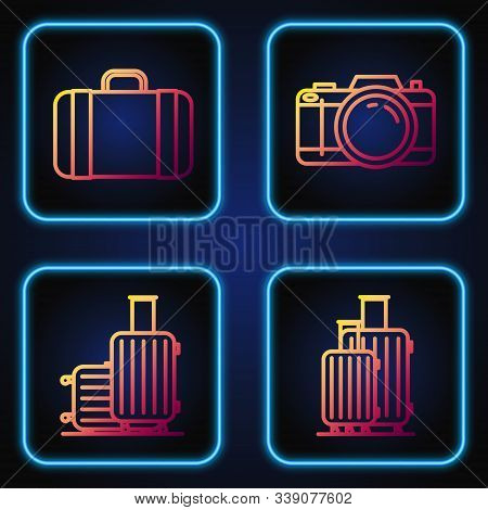 Set Line Suitcase For Travel, Suitcase For Travel, Suitcase For Travel And Photo Camera. Gradient Co