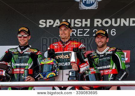 Jerez De La Frontera, Spain - October 16, 2016: Spanish Stage Of The Superbike World Championship, A