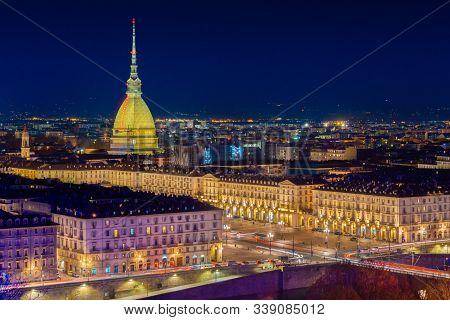 Night Cityscape Of Turin (torino), Piemonte, Italy
