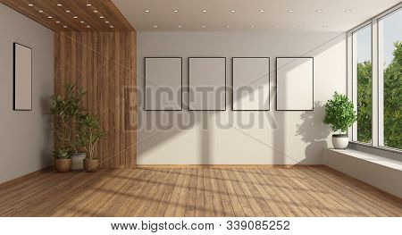Empty Minimalist Living Room With Large Window And Houseplant On Harwood Floor - 3d Rendering
