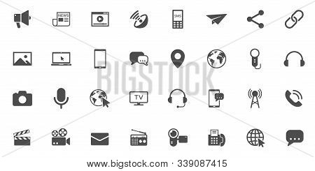 Mass Media Vector Icons Large Set Isolated On White Background. Media Business Concept. Media Flat I