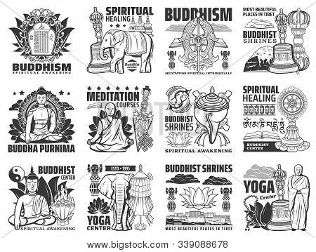 Buddhism Vector Icons, Yoga Center And Meditation Courses Signs. Buddha Stupa Shrines, Religious Sym