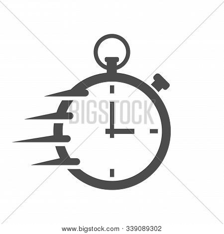 Fast Time Stopwatch Vector Icon For Web And Ui Design. Fast Stopwatch Flat Icon Isolated On White Ba
