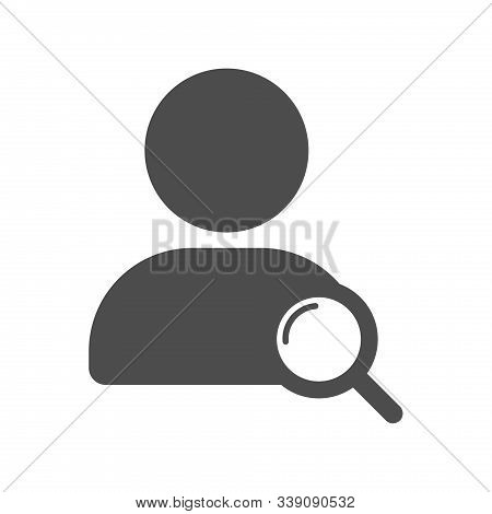 Internet Search People Icon. User Account Profile Ui Web Button With Magnifying Glass Sign Isolated