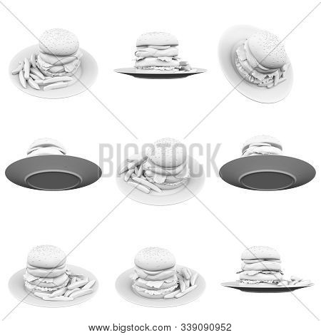 Hamburger Isolated On The White Background 3d Rendering