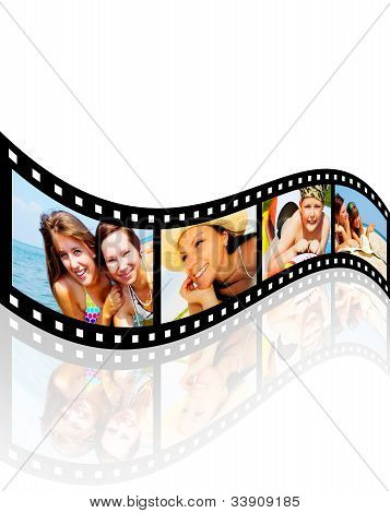 Filmstrip With Pictures Of Smiling Holiday People Having Vacation Over White