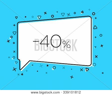Geometric Sale Banner With Inscription Forty Percent Discount On Blue Background. Template For Speec