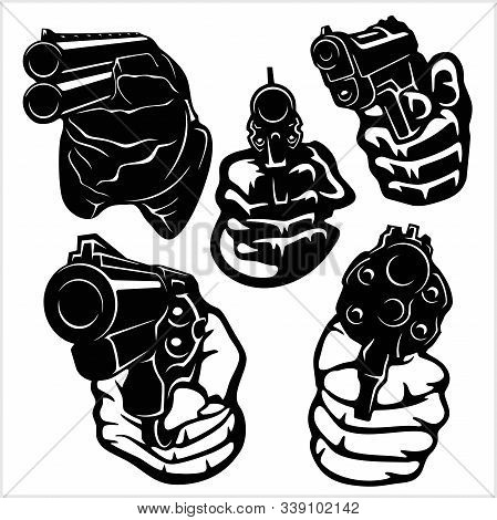 Hands With Guns - Vector Set. Isolated On White