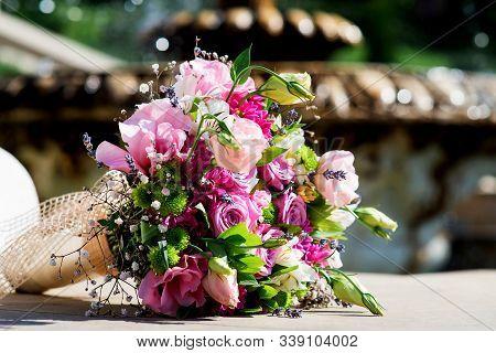 Wedding Bride Bouquet Pink Roses Purple Lisianthus Flowers & Lavender. Delicate Pink Gentle Lisianth